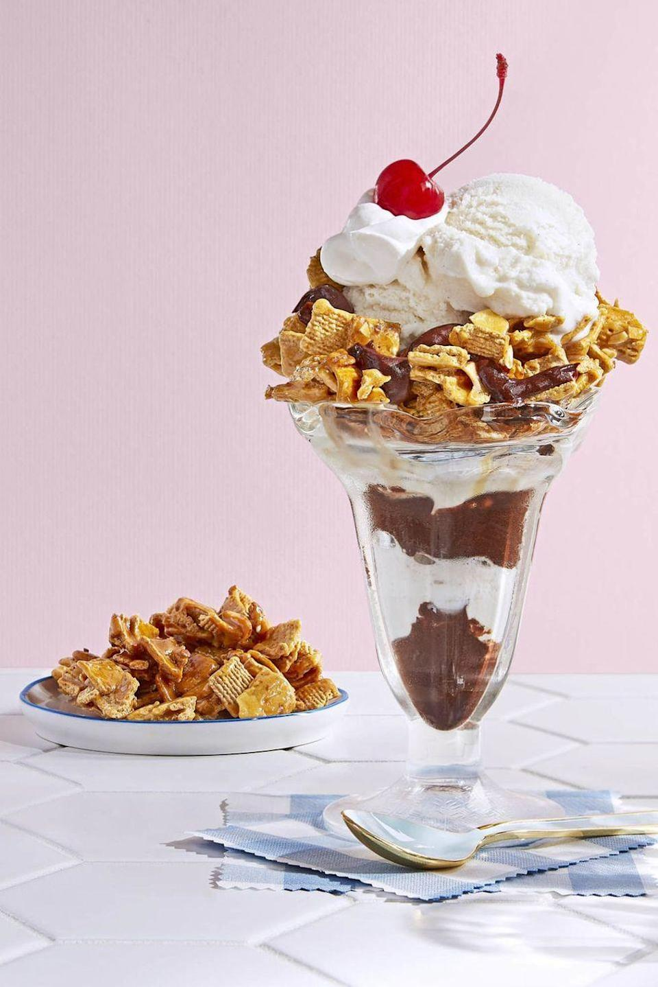 """<p>Cereal takes center stage in this gooey ice cream parfait. </p><p><strong><a href=""""https://www.countryliving.com/food-drinks/recipes/a46349/hot-fudge-golden-grahams-parfait-recipe/"""" rel=""""nofollow noopener"""" target=""""_blank"""" data-ylk=""""slk:Get the recipe"""" class=""""link rapid-noclick-resp"""">Get the recipe</a>.</strong></p>"""