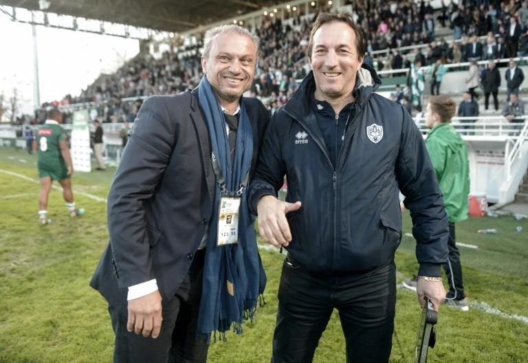 Jean-Francois Fonteneau with former France centre and Agen director of rugby Philippe Sella