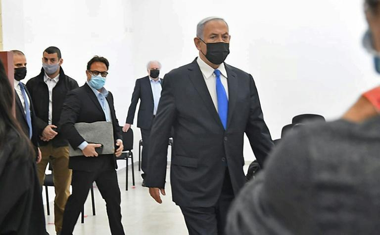 Netanyahu arrives at the court hearing on Monday