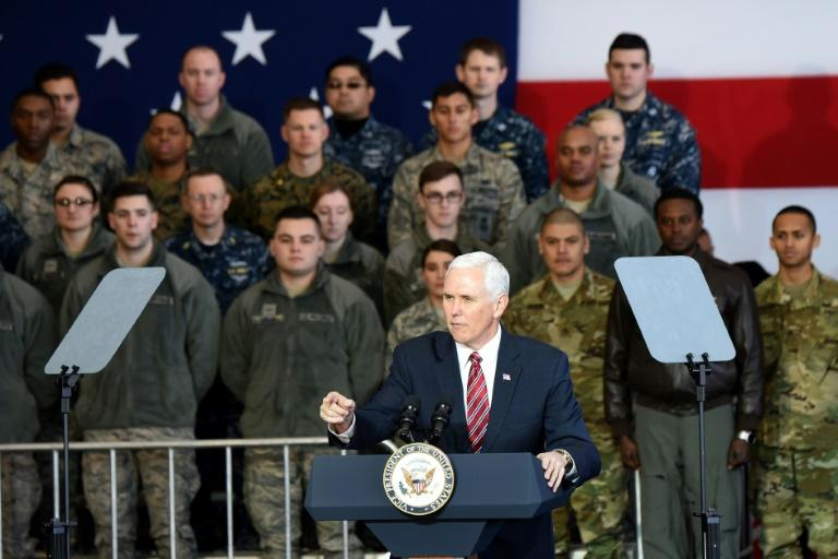 """US Vice President  Mike Pence vowed any provocation by North Korea would result in a """"response that is rapid, overwhelming and effective"""""""