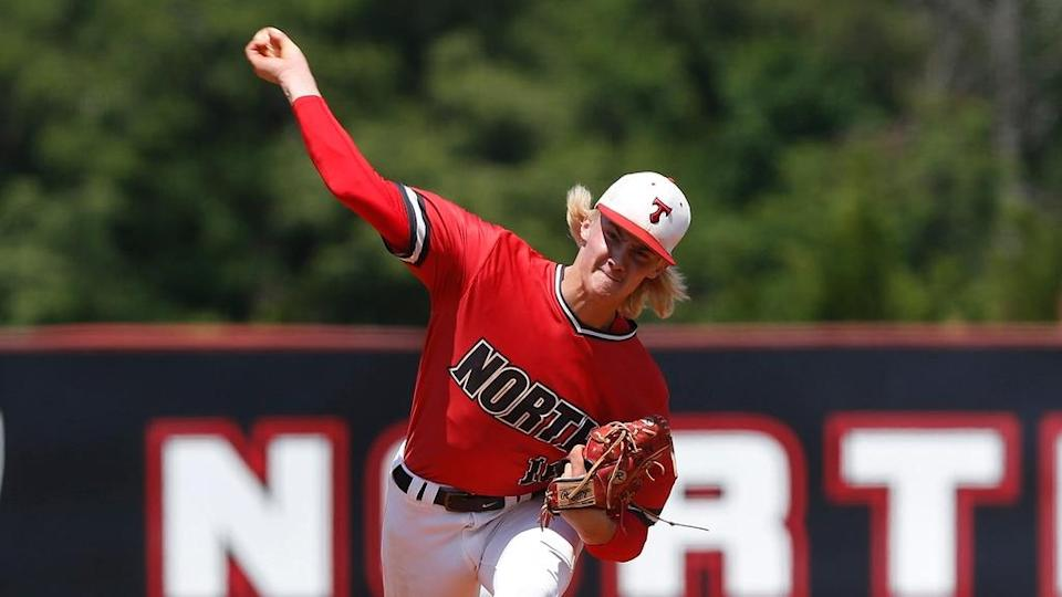 North Oconee's Bubba Chandler throws a pitch during game one of a GHSA AAAA semifinal in 2021