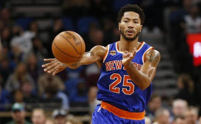 Derrick Rose and the Knicks face the 76ers on Wednesday. (AP)
