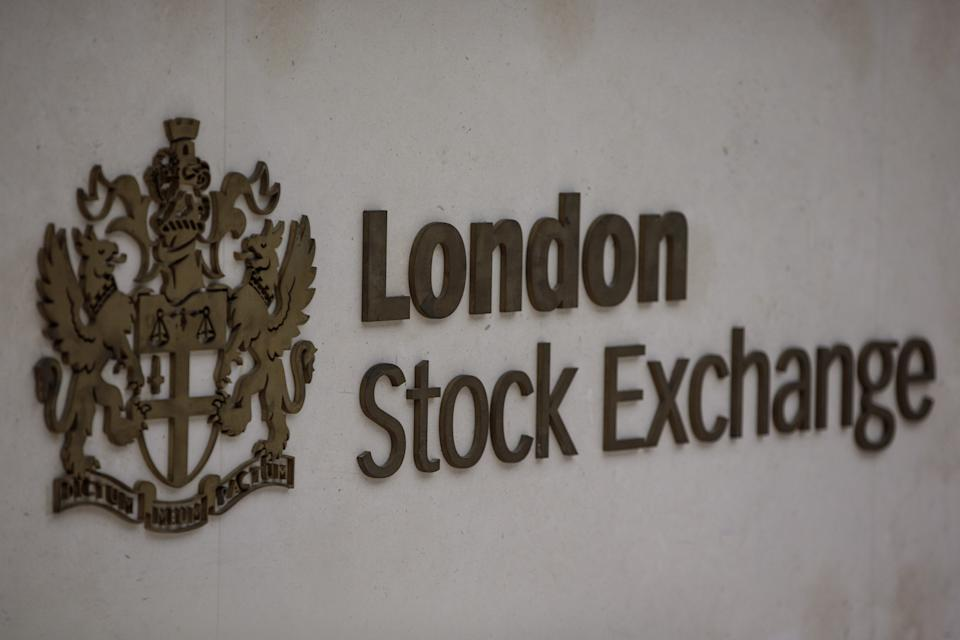 LONDON, ENGLAND - DECEMBER 27: The logo of the London Stock Exchange is displayed in its offices after reopening following the Christmas holiday on December 27, 2018 in London, England. The FTSE 100 hit a fresh two-year low today despite stock markets around the world recording significant gains by the end of Wednesday.  (Photo by Jack Taylor/Getty Images)