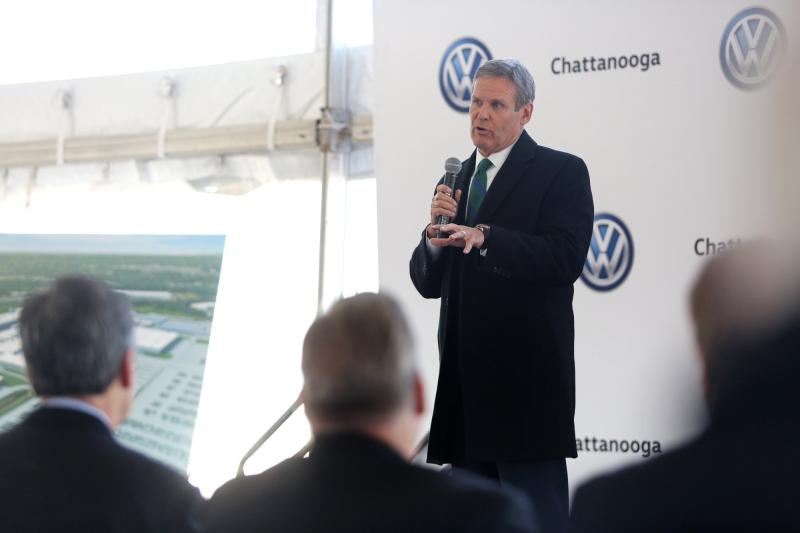 Tennessee Gov. Bill Lee speaks during the groundbreaking event for the Volkswagen electric vehicle facility at the Volkswagen plant Wednesday, Nov. 13, 2019 in Chattanooga, Tenn. Volkswagen is making Tennessee its North American base for electric vehicle production, breaking ground on an $800 million expansion at the plant in Chattanooga. (Erin O. Smith/Chattanooga Times Free Press via AP)
