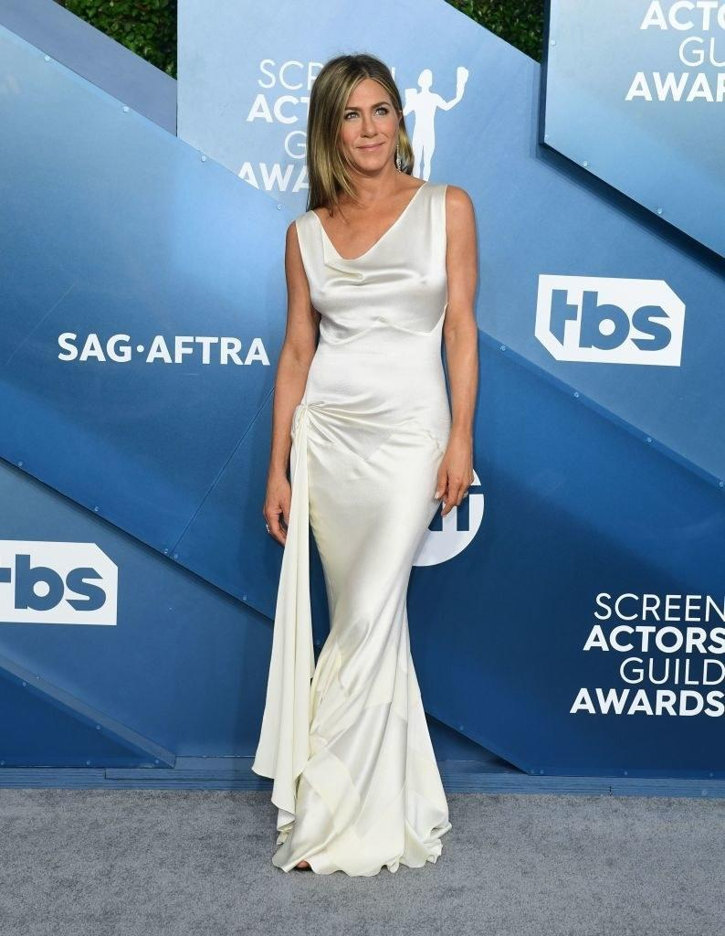 Jennifer in a simple satin gown at the Screen Actors Guild Awards
