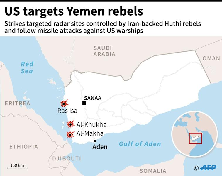 Graphic locating radar sites in rebel-controlled territory in Yemen targeted by US missile strikes (AFP Photo/Jean Michel CORNU, Thomas SAINT-CRICQ)