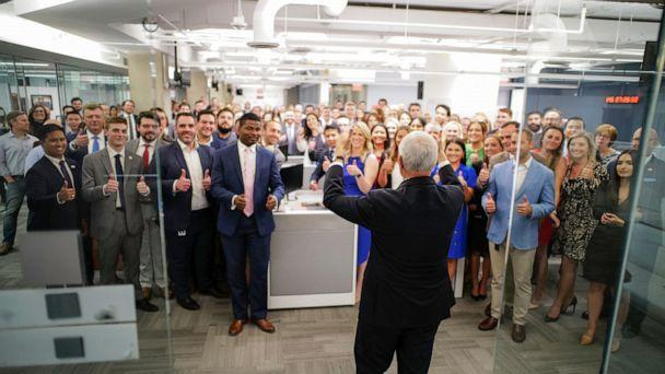 PHOTO: Vice President Mike Pence speaks to staffers at a campaign office for him and President Donald Trump, on June 10, 2020. (Mike Pence/Twitter)