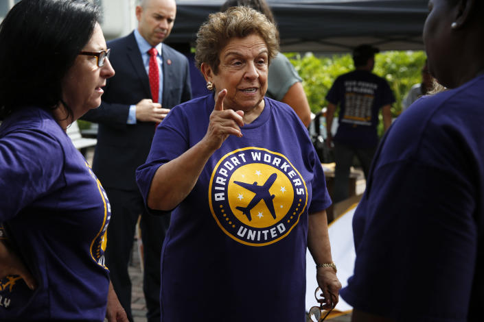 Florida Democratic congressional candidate Donna Shalala attends a protest at the Miami International Airport on Oct. 2, 2018. (Photo: Brynn Anderson/AP)