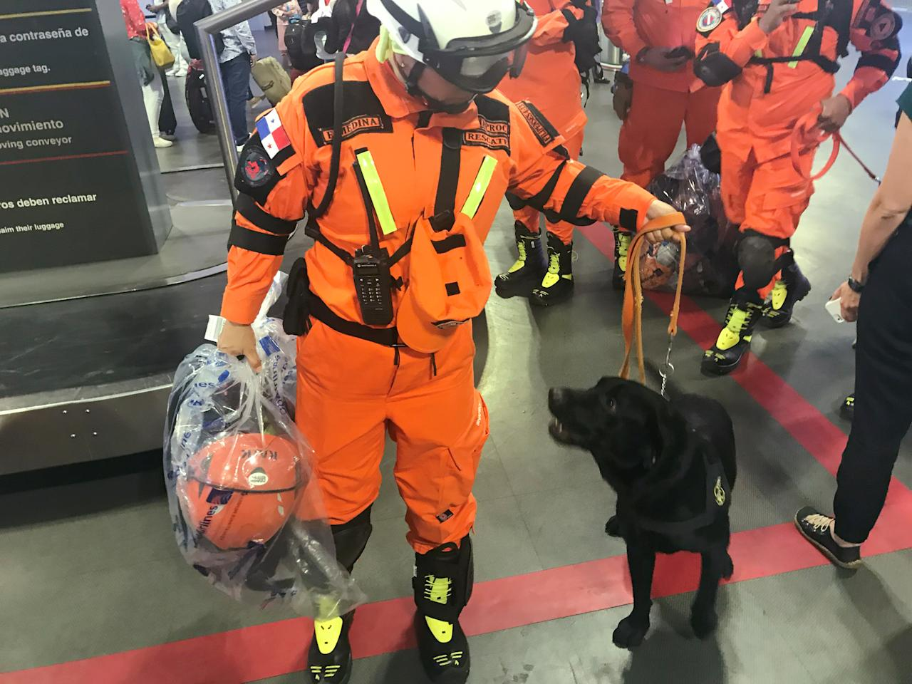 <p>Rescue personnel from Panama's Civil Protection team and their dogs arrive at the airport to aid in recovery efforts after an earthquake caused buildings in the city to collapse in Mexico City, Mexico, Sept. 20, 2017. (Photo: Dan Trotta/Reuters) </p>