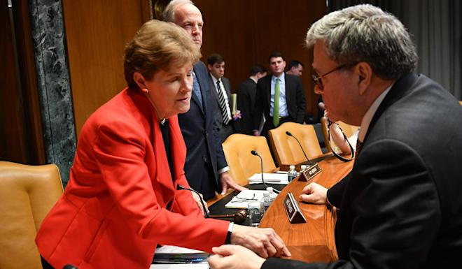 US Senator Jeanne Shaheen, pictured with US Attorney General William Barr in April, supports a bill that would curb the investment of federal retirement savings in Chinese firms. Photo: AFP