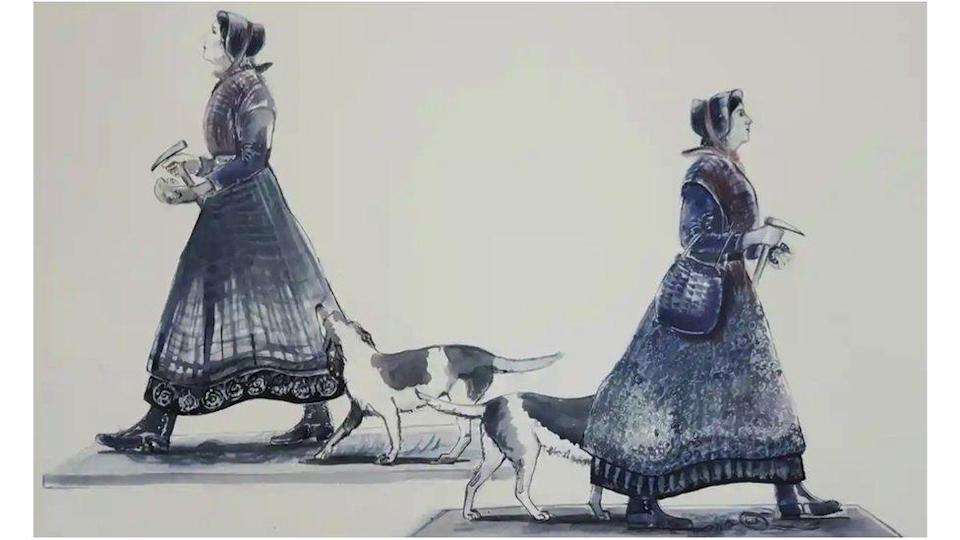 Artist's drawing of her project for the Mary Anning statue, which also includes her dog Tray