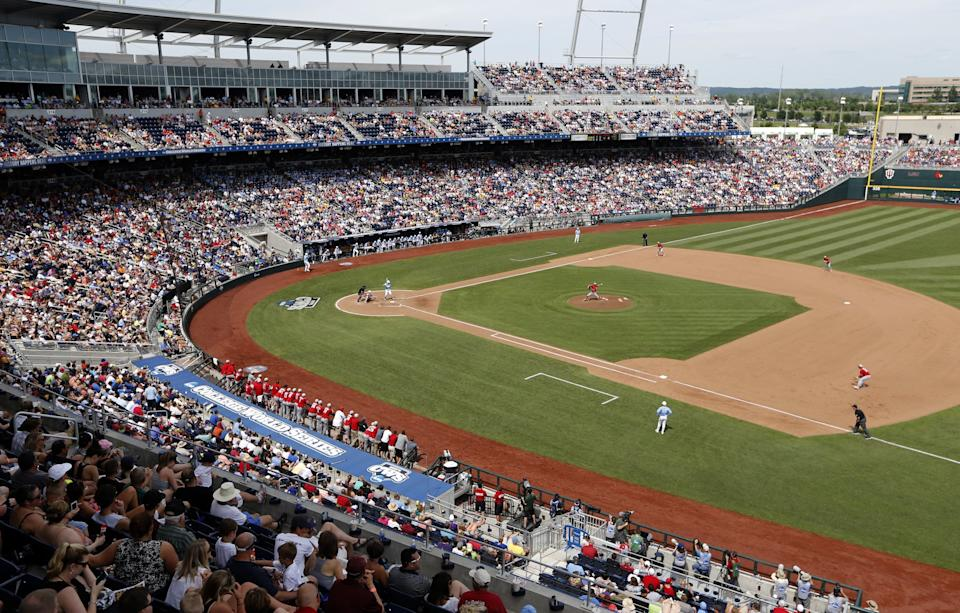 NC State in action at the College World Series. (Ethan Hyman/Raleigh News & Observer/MCT)