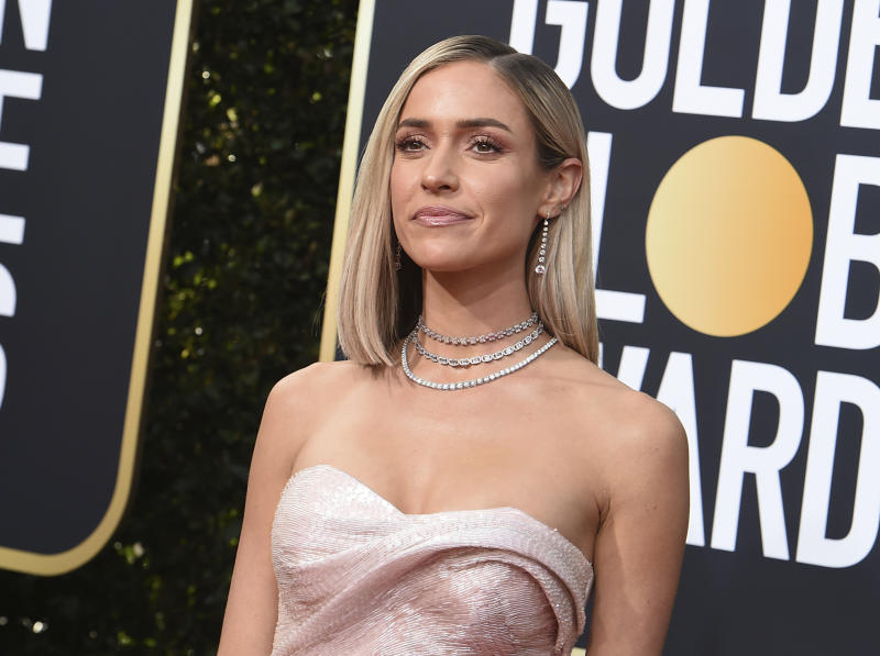 FILE - In this Jan. 5, 2020, file photo, Kristin Cavallari arrives at the 77th annual Golden Globe Awards at the Beverly Hilton Hotel in Beverly Hills, Calif. Reality TV star Cavallari and former Chicago Bears quarterback Jay Cutler are getting divorced. Cavallari announced Sunday, April 26, 2020, in an Instagram post that the couple are breaking up after after seven years of marriage and a decade together. (Photo by Jordan Strauss/Invision/AP, File)