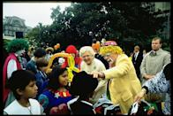 """<p><a href=""""https://www.whitehousehistory.org/press-room/halloween-at-the-white-house"""" rel=""""nofollow noopener"""" target=""""_blank"""" data-ylk=""""slk:Celebrating Halloween at the White House"""" class=""""link rapid-noclick-resp"""">Celebrating Halloween at the White House</a> is a tradition that dates back to 1958 when Mamie Eisenhower put up decorations for the first time. In 1989, the Bushes hosted a Halloween party for 600 schoolchildren.</p>"""