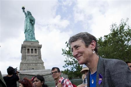 Secretary of the Interior Sally Jewell takes a tour to the Statue of Liberty and Liberty Island during its reopening to the public in New York