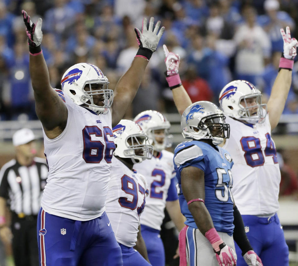 FILE - In this Oct. 5, 2014, file photo, Buffalo Bills tackle Seantrel Henderson (66) celebrates as he watches a 58 yard game-winning field goal in the fourth quarter of an NFL football game against the Detroit Lions in Detroit. A double-digit deficit is no longer the death knell it used to be in the NFL. (AP Photo/Duane Burleson, File)