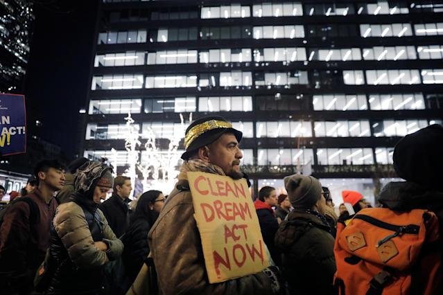 <p>Activists demonstrate outside the New York office of Sen. Chuck Schumer to ask for the passage of a 'clean' Dream Act, one without additional enforcement or security, in New York City, Jan. 10, 2018. (Photo: Lucas Jackson/Reuters) </p>