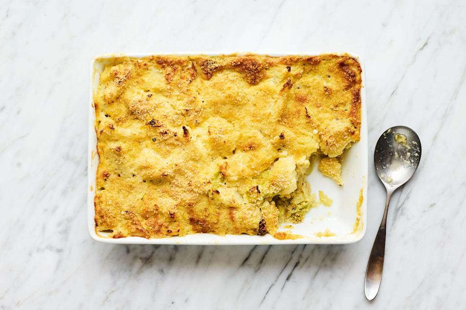 """This soufflélike dish of cabbage and cauliflower is a great way to lean into casserole season. <a href=""""https://www.epicurious.com/recipes/food/views/cauliflower-and-cabbage-gratin?mbid=synd_yahoo_rss"""" rel=""""nofollow noopener"""" target=""""_blank"""" data-ylk=""""slk:See recipe."""" class=""""link rapid-noclick-resp"""">See recipe.</a>"""
