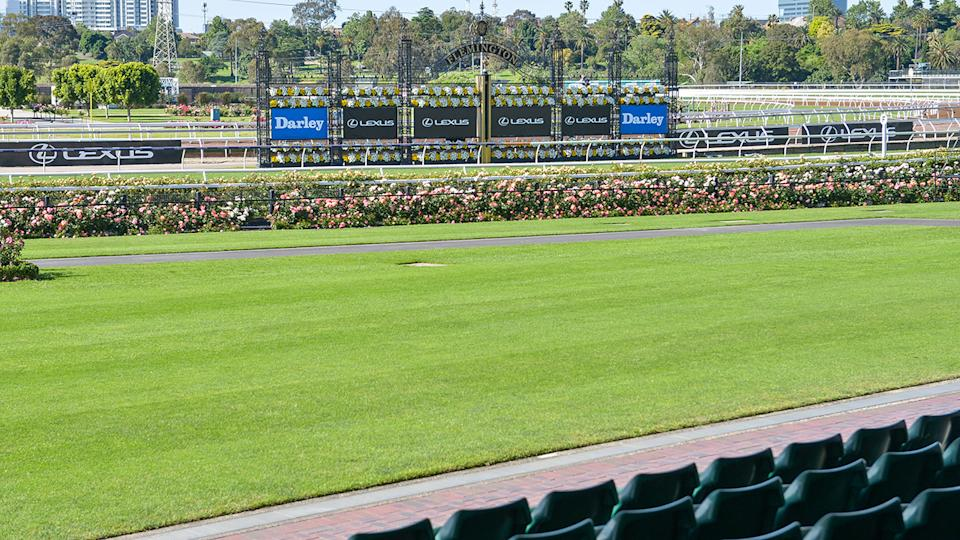 Melbourne Cup Day at Flemington Racecourse, pictured here without fans.