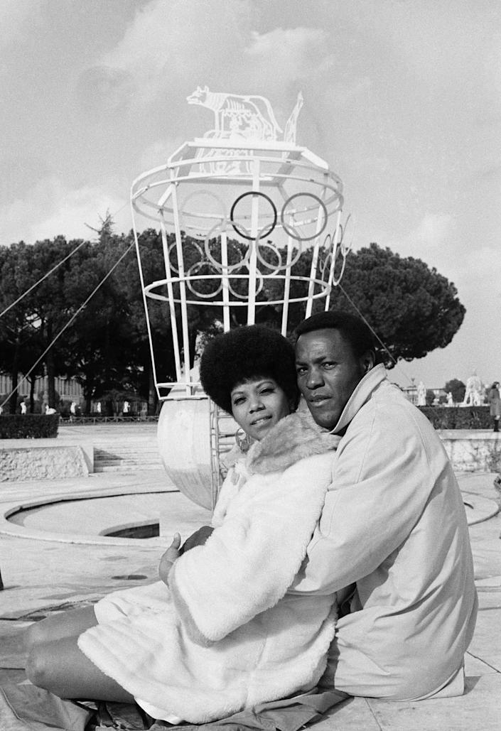 """Wilma Rudolph and Rafer Johnson on the set of """"The Games"""" at Rome's Olympic Stadium on March 24, 1969."""
