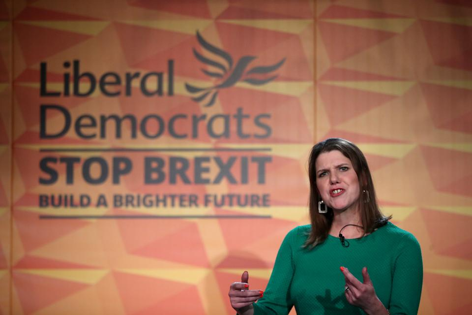 Britain's Liberal Democrat leader Jo Swinson speaks at the launch of the party manifesto in London, Britain, November 20, 2019. REUTERS/Hannah McKay