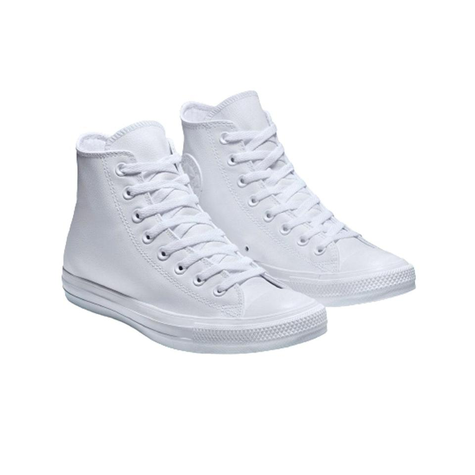 "Since walking around is pretty much the only thing I can do outside my apartment, I have no time for uncomfortable shoes. I've worn these <a href=""https://www.glamour.com/gallery/best-white-sneakers-for-women-2018?mbid=synd_yahoo_rss"" rel=""nofollow noopener"" target=""_blank"" data-ylk=""slk:white sneakers"" class=""link rapid-noclick-resp"">white sneakers</a> to the grocery store, to get a Covid test, and while aimlessly wandering the streets. The leather makes them easier to clean—and warmer! —<em>S.O.</em> $60, Converse. <a href=""https://www.converse.com/shop/p/chuck-taylor-all-star-leather-unisex-high-top-shoe/1T406_060.html?"" rel=""nofollow noopener"" target=""_blank"" data-ylk=""slk:Get it now!"" class=""link rapid-noclick-resp"">Get it now!</a>"