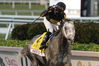 Joel Rosario celebrates after Knicks Go won the Pegasus World Cup Invitational horse race Saturday, Jan. 23, 2021, at Gulfstream Park in Hallandale Beach, Fla. (AP Photo/Marta Lavandier)