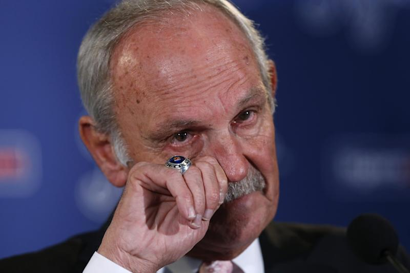 Detroit Tigers baseball manager Jim Leyland announces he is stepping down as manager during a news conference at Comerica Park in Detroit, Monday, Oct. 21, 2013. (AP Photo/Paul Sancya)