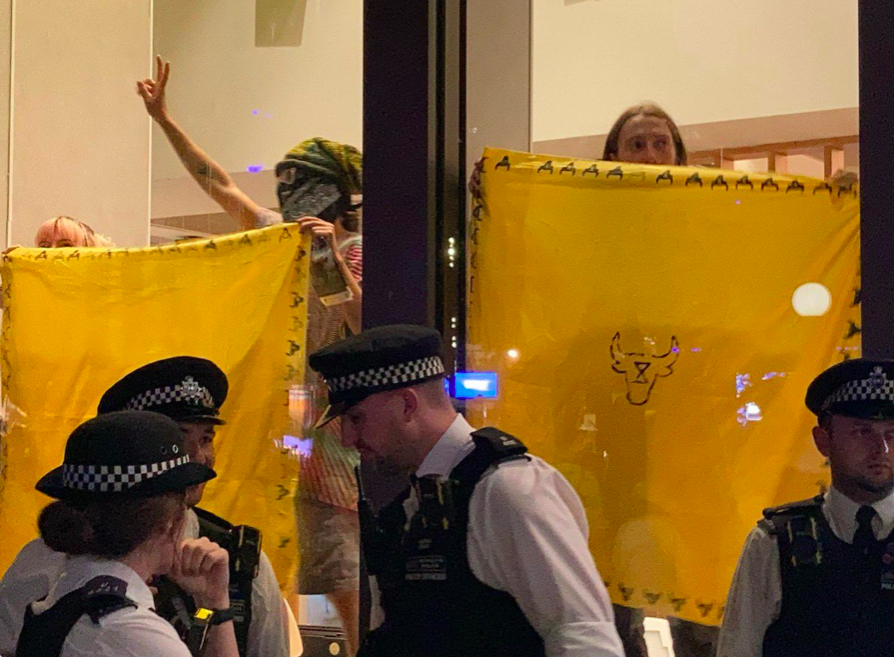 Protesters held up yellow flags at the front of the McDonald's in Leicester Square. (Twitter/Animal Rebellion)