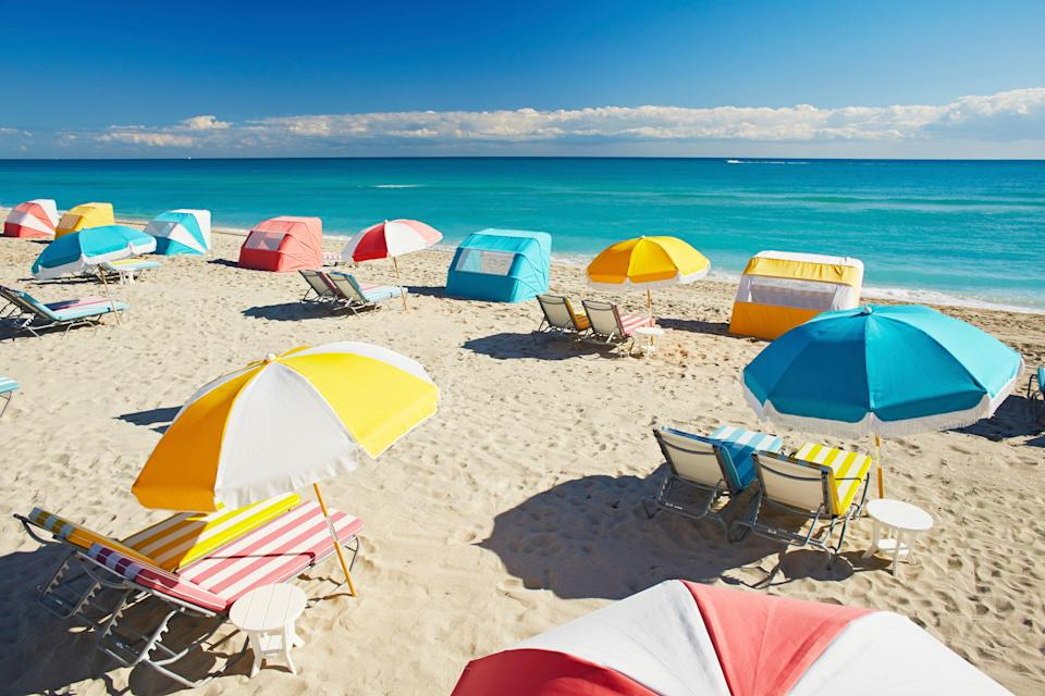"<p>With perfectly aligned rows of pastel-hued chairs and umbrellas, the beach at <a href=""https://cna.st/affiliate-link/2yLszzCHmrR958B5iMusnye46AsXGCigkLh5H2Xn5T1WRzHy3iP4447d8VYtRyqzYK7nx2jA9Uu7xtCz3Aopxcp2Uqyfju5Ht7SGcSay5M58kg6rTxUEpVfHzqmgeMMbnkFjW7TkBuZU2GYNCxhNCgCZuAnUM77hY31kCd8xRakLf9iBJbPw2XHauiQeKkhRf?cid=6058ad501b01d7e74b705258"" rel=""nofollow noopener"" target=""_blank"" data-ylk=""slk:The Confidante, Miami Beach"" class=""link rapid-noclick-resp"">The Confidante, Miami Beach</a>, may well be the city's most photogenic. The colorful, Art-Deco inspired fantasy continues at The Backyard, the hotel's outdoor lounge which is strewn with hanging swing chairs, palm trees, and pillow-topped rattan loungers. (Note that unlike most hotel restaurants open to the public, The Backyard is exclusive to hotel guests.) Together, the scene is idyllic for languid beach days, sipping on countless handcrafted cocktails, and posting all about it on social media. Later, retreat to your Martin Brudnizki-designed guest room, which embodies a splendid, mid-century modern Florida aesthetic, complementing the building's iconic 1950s architecture.</p> <p><strong>Who it's best for:</strong> Those seeking the Miami good life without the price tag (hotel rates typically run lower than competitors and, and as part of The Unbound Collection by Hyatt, a stay costs 15,000 World of Hyatt points per night.)</p> <p><strong>The vibe:</strong> Retro-glam fun-in-the-sun</p> <p><strong>Where to eat:</strong> Order small plates, salads, and burgers at The Backyard to go with your cocktails.</p>"