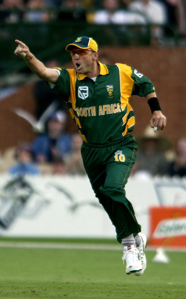 27 Jan 2002:  Allan Donald of South Africa celebrates after catching Lou Vincent off the bowling of Shaun Pollock for 20 in the one day match between South Africa and New Zealand played at Adelaide Oval in Adelaide, Australia.  Digital Image. Mandatory Credit: Tony Lewis/Getty Images