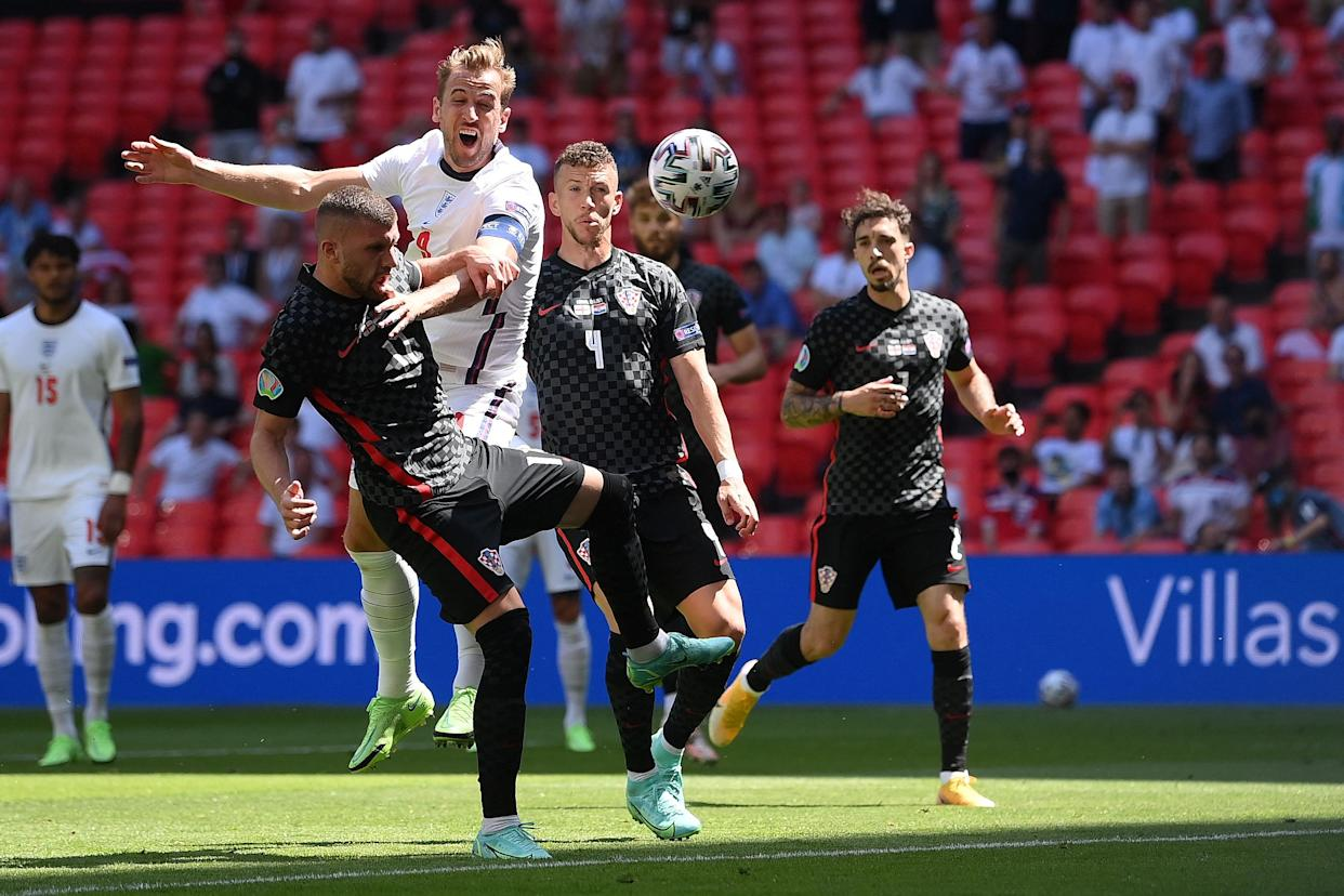Harry Kane attempts a header during the UEFA EURO 2020 Group D football match between England and Croatia at Wembley.