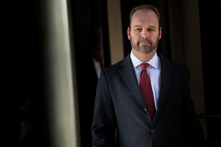 In this file photo taken on December 11, 2017 former Trump campaign official Rick Gates leaves Federal Court in Washington, DC. Gates testified on August 6, 2018 on day 5 of the trial against former Trump campaign manager Paul Manafort. Manafort, 69, is the first defendant to go to court to fight charges stemming from Special Counsel Robert Mueller's investigation into Russian interference in the 2016 election.