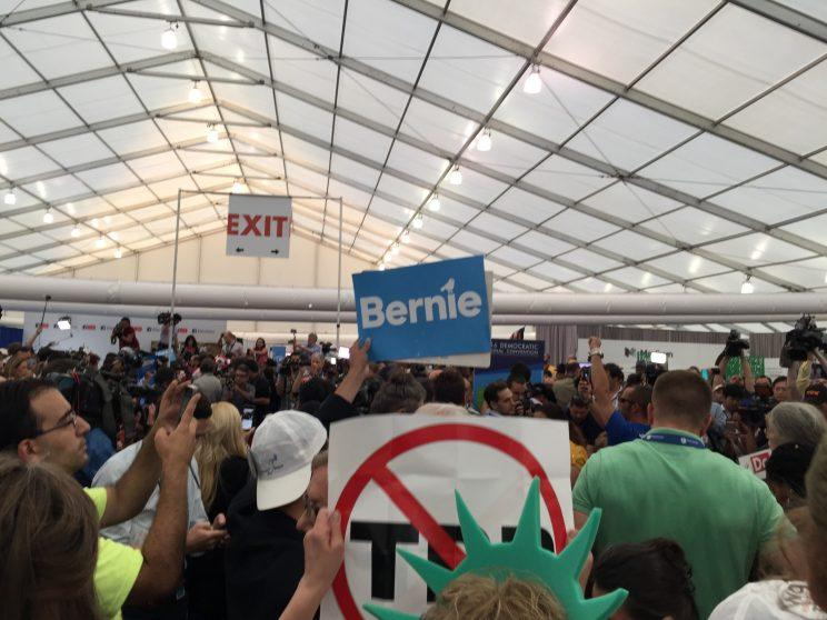 A pro-Bernie Sanders protest in the Democratic National Convention's media tent. (Photo: Hunter Walker/Yahoo News)