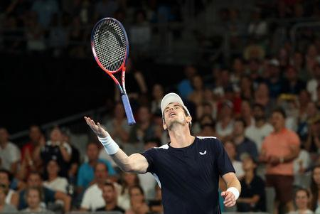 Tennis - Australian Open - First Round - Melbourne Arena, Melbourne, Australia, January 14, 2019. Britain's Andy Murray reacts during the match against Spain's Roberto Bautista Agut. REUTERS/Lucy Nicholson