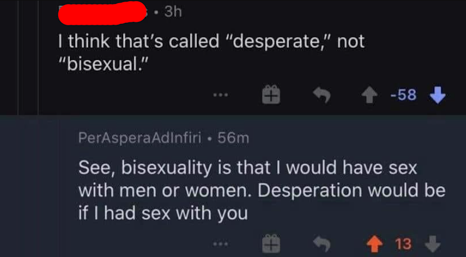 person who says I think that's called desperate not bisexual and someone respond bisexuality is that I would have sex with men and women; desperation would be sex with you