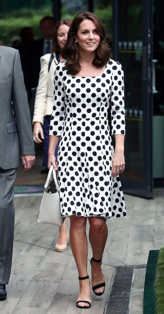 """<p>The Duchess attended day one <a href=""""https://www.townandcountrymag.com/society/tradition/g10241217/royal-family-wimbledon/"""" rel=""""nofollow noopener"""" target=""""_blank"""" data-ylk=""""slk:of the Wimbledon Championships"""" class=""""link rapid-noclick-resp"""">of the Wimbledon Championships</a> wearing a polka dot <a href=""""https://go.redirectingat.com?id=74968X1596630&url=https%3A%2F%2Fwww.brownsfashion.com%2Fuk%2Fshopping%2Fpolka-dot-midi-dress-11861781&sref=https%3A%2F%2Fwww.townandcountrymag.com%2Fstyle%2Ffashion-trends%2Fnews%2Fg1633%2Fkate-middleton-fashion%2F"""" rel=""""nofollow noopener"""" target=""""_blank"""" data-ylk=""""slk:midi dress by Dolce & Gabbana"""" class=""""link rapid-noclick-resp"""">midi dress by Dolce & Gabbana</a>. She also showed off a short new hairstyle!</p>"""