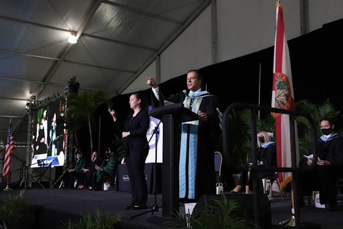 Miami-Dade Schools Superintendent Alberto Carvalho speaks to the graduates of Coral Gables Senior High on Tuesday, June 1, 2021, at the Miami-Dade Fair & Expo.