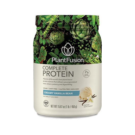 """<p>This is one of my absolute favorite vegan protein powders for the creamy texture and the sweet vanilla flavor that doesn't taste fake or leave a weird aftertaste. I also love that this brand sells single-serving packets, so I can take them on trips.</p> <p><strong><a href=""""https://plantfusion.com/products/complete-plant-protein?variant=3732320878632"""" target=""""_blank"""" class=""""ga-track"""" data-ga-category=""""Related"""" data-ga-label=""""https://plantfusion.com/products/complete-plant-protein?variant=3732320878632"""" data-ga-action=""""In-Line Links"""">Ingredients</a>:</strong> pea protein isolate, artichoke protein, organic sprouted amaranth powder, organic sprouted quinoa powder, whole algae protein, bromelain, alpha galactosidase, natural flavor, stevia extra powder, silica, guar gum powder, lucuma powder, luo han guo extract, yacon powder </p> <p><strong>Serving size:</strong> 30 grams<br> <strong>Calories:</strong> 120<br> <strong>Carbs:</strong> 2 grams<br> <strong>Protein:</strong> 21 grams</p>"""