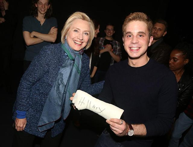 <p>The former presidential candidate put her John Hancock on Platt's character's infamous cast while backstage at <em>Dear Evan Hansen</em> on Broadway on Wednesday night. The actor's Tony-winning run is coming to an end; he's set to exit the role on Sunday. (Photo: Bruce Glikas/Bruce Glikas/FilmMagic) </p>