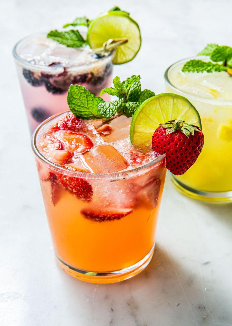 """<p>You're going to want to make these every weekend (and weekday, let's be honest).</p><p>Get the recipe from <a href=""""https://www.delish.com/cooking/recipes/a53357/blueberry-pineapple-strawberry-mojito-recipes/"""" rel=""""nofollow noopener"""" target=""""_blank"""" data-ylk=""""slk:Delish"""" class=""""link rapid-noclick-resp"""">Delish</a>.</p>"""