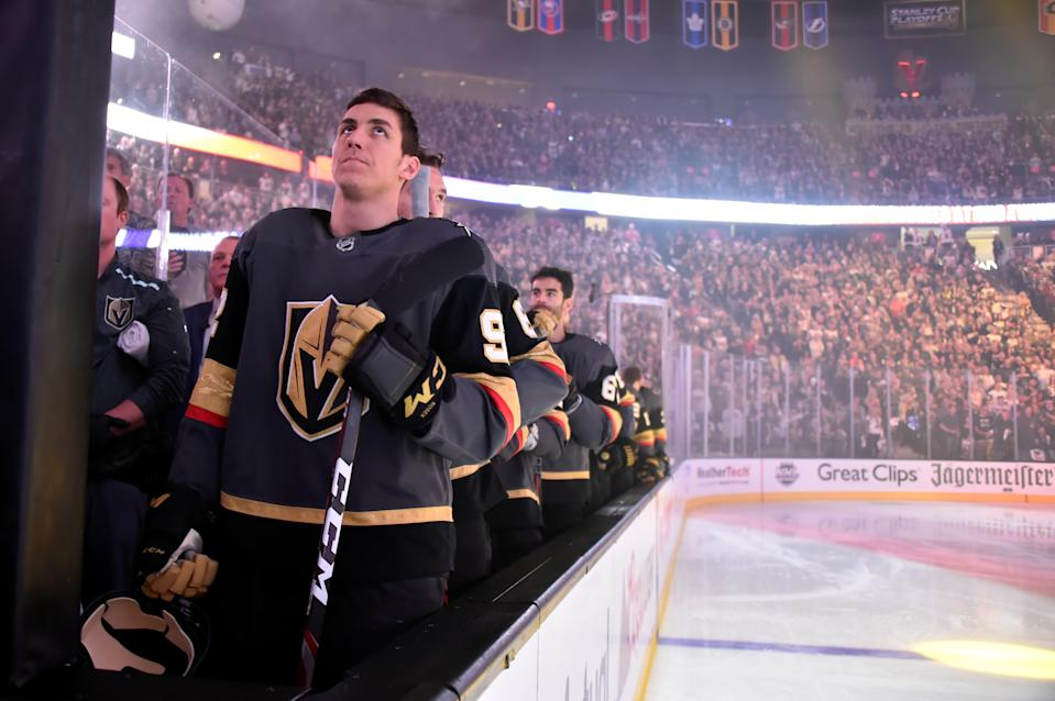 LAS VEGAS, NV - APRIL 21:  The Vegas Golden Knights stand for the national anthem prior to Game Six of the Western Conference First Round against the San Jose Sharks during the 2019 NHL Stanley Cup Playoffs at T-Mobile Arena on April 21, 2019 in Las Vegas, Nevada.  (Photo by David Becker/NHLI via Getty Images)