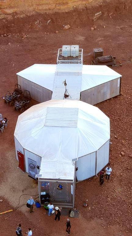 The simulated Mars base where the team will live, in the Ramon Crater in Israel's southern Negev desert (AFP/JACK GUEZ)