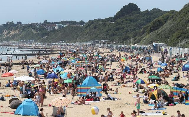 Crowds on Bournemouth beach during the warm weather this summer