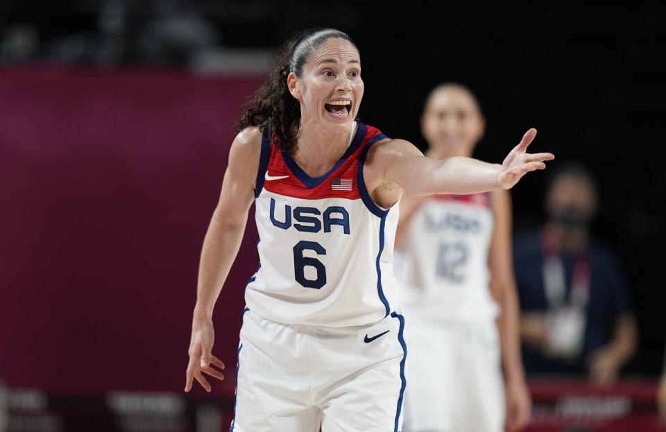 United States' Sue Bird (6) reacts during women's basketball preliminary round game against Japan at the 2020 Summer Olympics, Friday, July 30, 2021, in Saitama, Japan. (AP Photo/Charlie Neibergall)