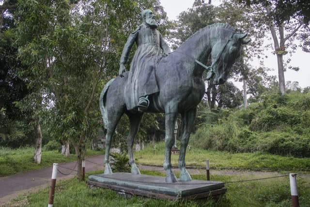 A statue of King Leopold II riding a horse is seen at the Institute of National Museums of Congo, in Kinshasa, Democratic Republic of Congo (John Bompengo/AP)