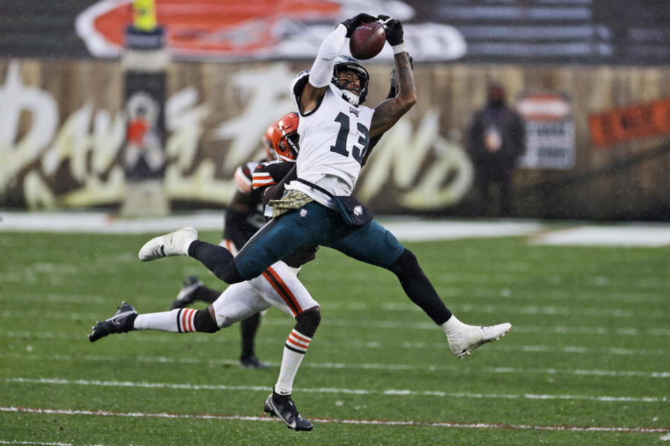 Philadelphia Eagles wide receiver Travis Fulgham (13) catches a pass during the second half of an NFL football game against the Cleveland Browns, Sunday, Nov. 22, 2020, in Cleveland. (AP Photo/Ron Schwane)