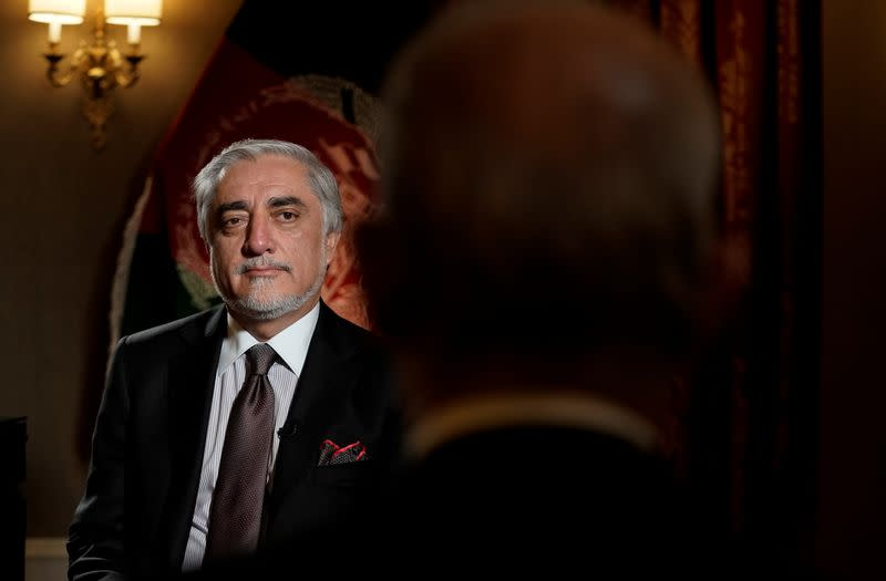 Chairman of Afghanistan's High Council for National Reconciliation Abdullah Abdullah looks on during an interview with Reuters at the Willard Hotel
