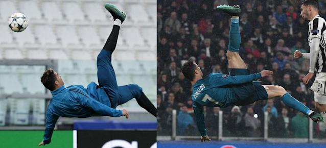 Cristiano Ronaldo in training on Monday (left) vs. in Tuesday's Champions League game against Juventus. (Photos: Getty | Side-by-side: Yahoo Sports)