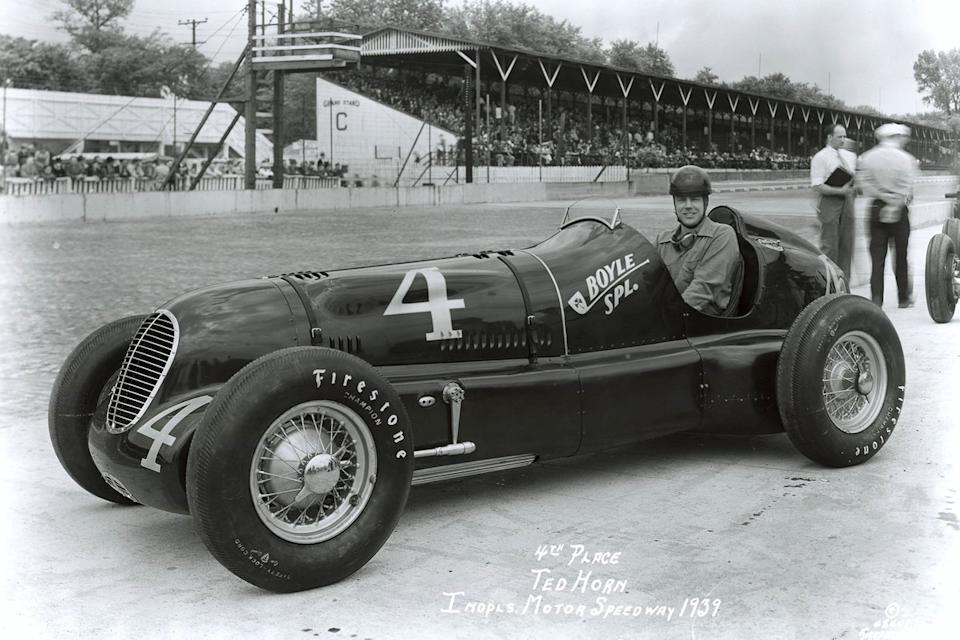 """A move to Cotton Henning's team in 1939 to drive the Boyle Special promised much and Horn qualified fourth but luck continued to elude him on race days.<span class=""""copyright"""">Indianapolis Motor Speedway</span>"""